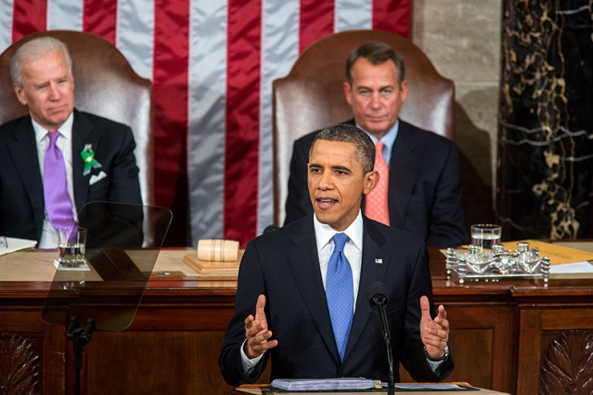 President Barack Obama delivers the State of the Union address on 12 Feb 2013. Earlier that day he had signed Executive Order 13636, aimed at improving critical infrastructure cybersecurity.
