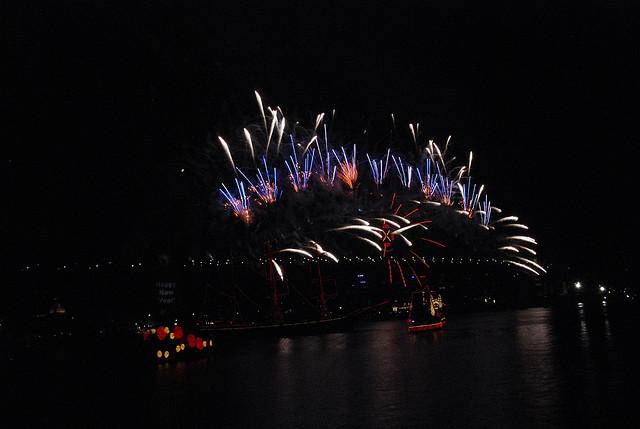 The Sydney Harbour bridge displays a tricolour