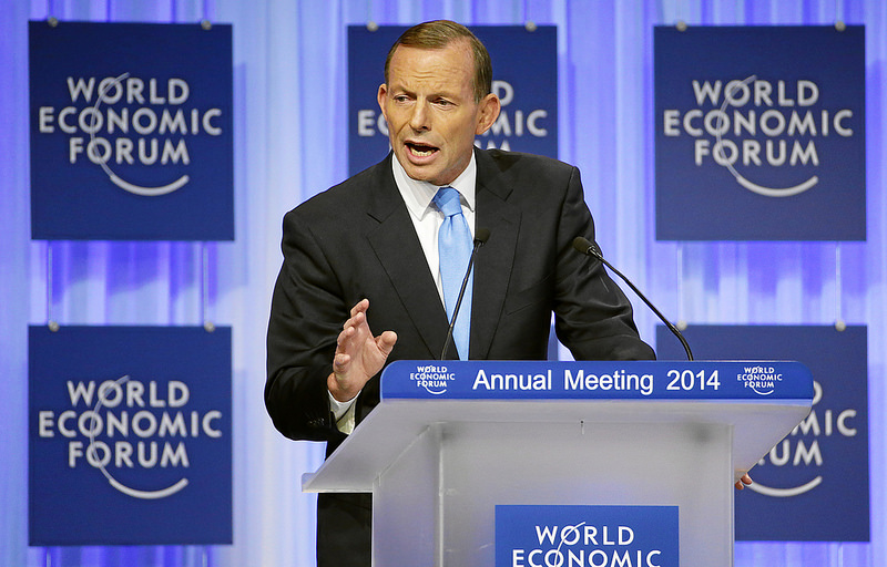 Prime Minister Tony Abbott outlining Australia's vision for the G20, trade not talk, at the World Economic Forum in Davos