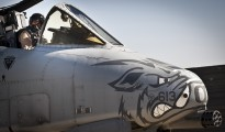 A pilot assigned to the 104th Expeditionary Fighter Squadron prepares an A-10 Thunderbolt II for a mission at Bagram Airfield Afghanistan. Known as the 'Warthog', the aircraft is being removed from service due to US military spending cuts.