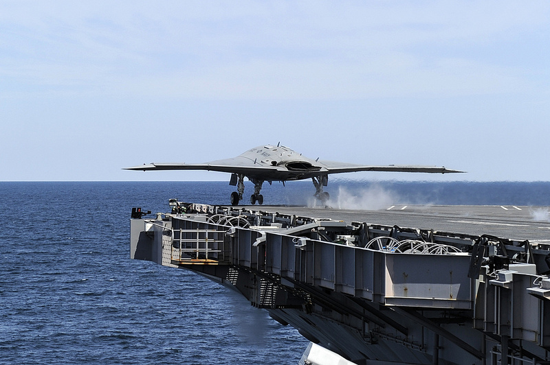 An X-47B Unmanned Combat Air System launches from the aircraft carrier USS George H.W. Bush