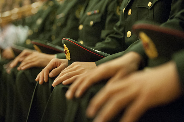 Cadets of the Peoples LIberation Army Armored Forces Academy listen to Secretary of Defense Leon E. Panetta speak in Beijing China, Sept. 19, 2012. Panetta visited Tokyo, Japan before continuing to Beijing and traveling to Auckland, New Zealand on a week long trip to the Pacific. DoD photo by Erin A. Kirk-Cuomo
