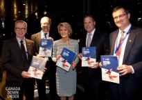 L-R: Leonard Edwards, Distinguished Fellow at CIGI and Canada's former Deputy Minister for Foreign Affairs; ASPI Exec Director Peter Jennings; Foreign Minister Julie Bishop; Canadian Minister of Foreign Affairs John Baird; and Fen Osler Hampson, Distinguished Fellow and Director of the Global Security Program at CIGI, holding copies of the ASPI-CIGI report Facing west, facing north: Canada and Australia in East Asia