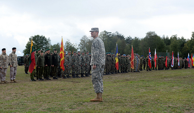 US ARMY GARRISON GRAFENWOEHR, Germany - U.S. Army Lt. Col. Carleton Lee, U.S. European Command exercise director receives the report of nearly 40 nations participating in exercise Combined Endeavor 2013, Sept. 12, 2013. Despite the 'rebalance' and a strong US-Australia alliance, the QDR 2014 emphasises the primacy of Europe as the US' principal partner in promoting global security.