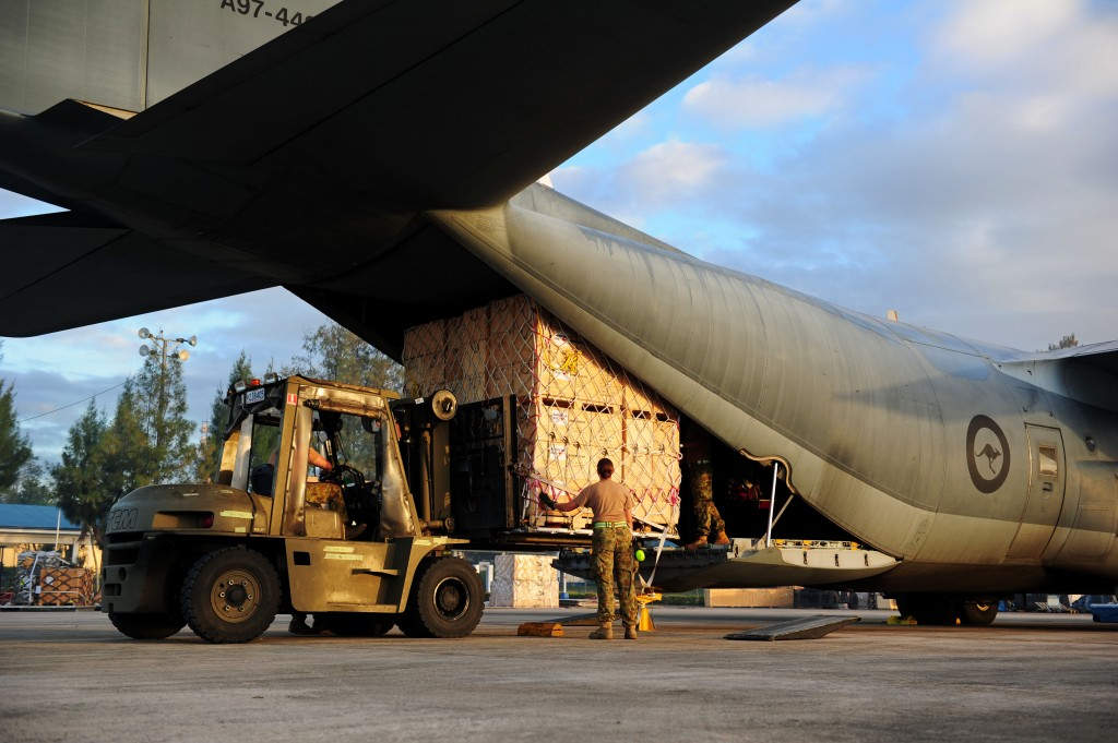 Royal Australian Air Force airmen and airwomen, from Number 1 Airfield Operations Support Squadron in Darwin, load a Royal Australian Air Force C-130J Hercules at Cebu airfield during Operation PHILIPPINES ASSIST. When the Government picks up the phone to ask Defence to respond to regional events, Air Force will very often be the first responder.