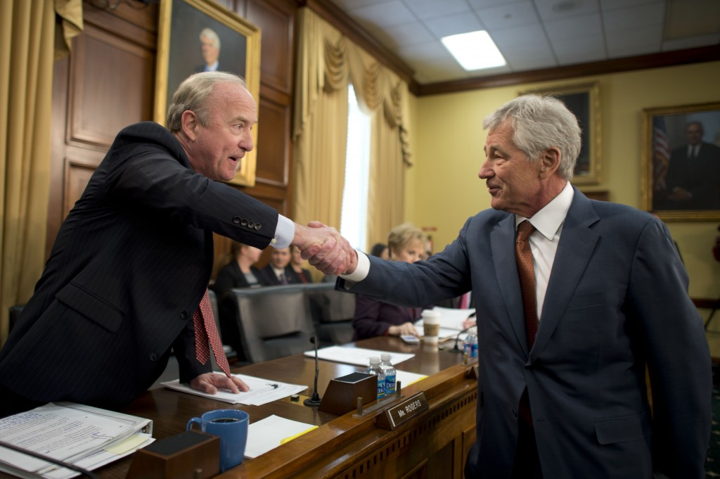 Defense Secretary Chuck Hagel greets U.S. Rep. Rodney Frelinghuysen of New Jersey, chairman of the House Appropriations Committee's defense subcommittee, before testifying on the Defense Department's fiscal year 2015 budget request before the subcommittee in Washington, D.C., March 13, 2014. DOD photo by Erin A. Kirk-Cuomo