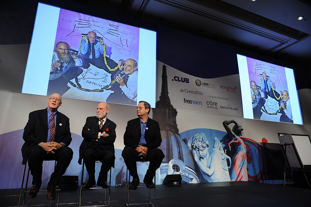 Steve Crocker, Vint Cerf and Paul Mockapetris during a panel discussion at ICANN 48 in Buenos Aires.  The announcement by the US Department of Commerce that it intends to transfer the last of its official responsibilities for the DNS to ICANN will surely form a large part of the debate at the upcoming ICANN 49 in Singapore on 23 March.