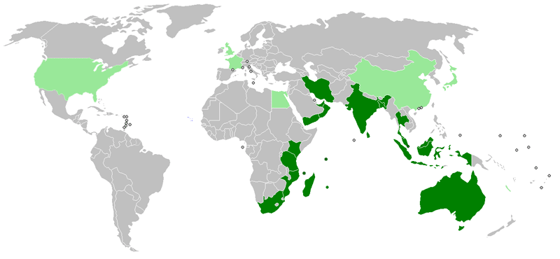 The members (dark green) and dialogue partners (light green) of the Indian Ocean Rim Association