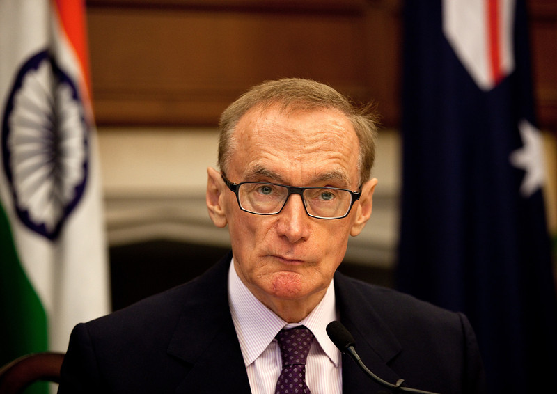 Australian Foreign Minister The Hon. Bob Carr speaks to media at a press conference with Indian Minister for External Affairs , Mr. Salman Khushid after a bilateral meeting during Mr. Carr's visit to India.