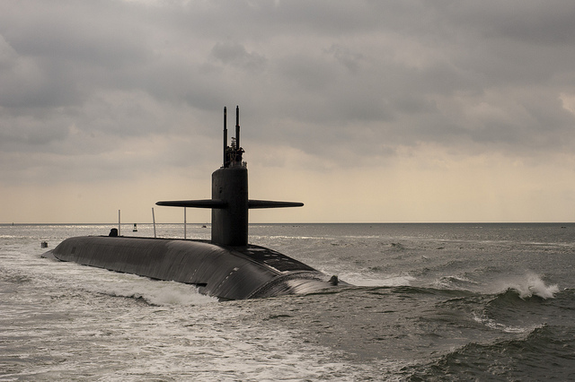 KINGS BAY, Ga. (Aud. 1, 2012) The Ohio-class ballistic missile submarine USS Maryland (SSBN 738) transits the Saint Marys River. Maryland returned to Naval Submarine Base Kings Bay following routine operations.