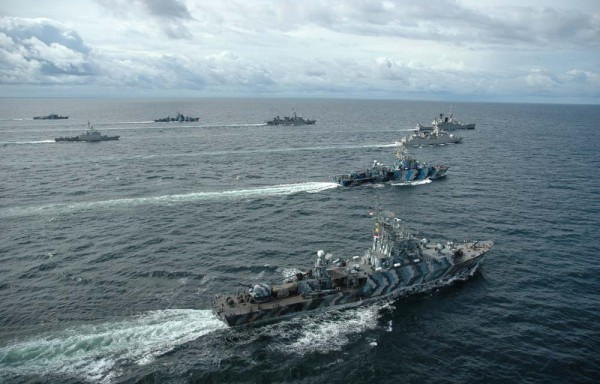 Indonesian Navy ships formation