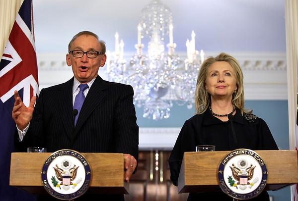 Former Foreign Minister Bob Carr and his US counterpart, Secretary of State Hillary Clinton, address the media following their bilateral meeting in Washington D.C. on 24 April 2012.