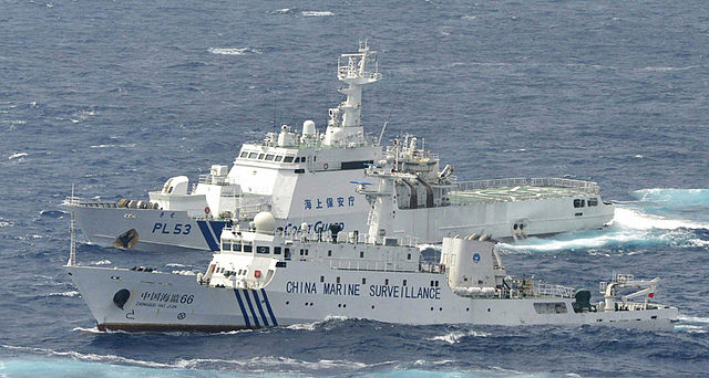"The China Marine Surveillance cutter ""Haijian 66"" and the Japan Coast Guard cutter ""Kiso"" confront each other near the Senkaku/Diaoyu Islands. Will trade and investment connections and the economic imperatives of both governments prevent conflict?"