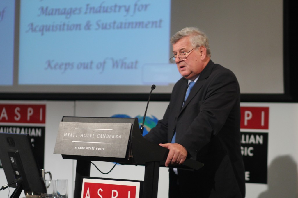 Mr John Coles CB RCNC, author of the Coles Review, speaking at ASPI's International Conference 'The Submarine Choice' in April 2014.