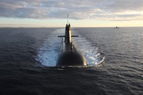 Royal Australian Navy Collins Class submarines exercising off the West Australian coast.
