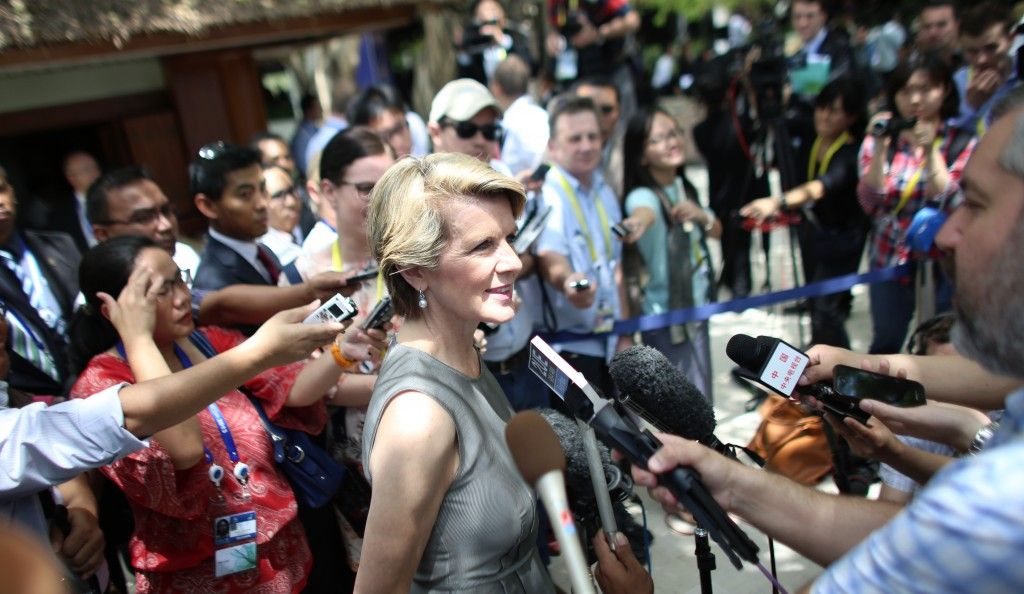 Foreign Minister Julie Bishop holds a press conference at the APEC Summit on the afternoon of October 5, 2013, in Nusa Dua, Bali, Indonesia.