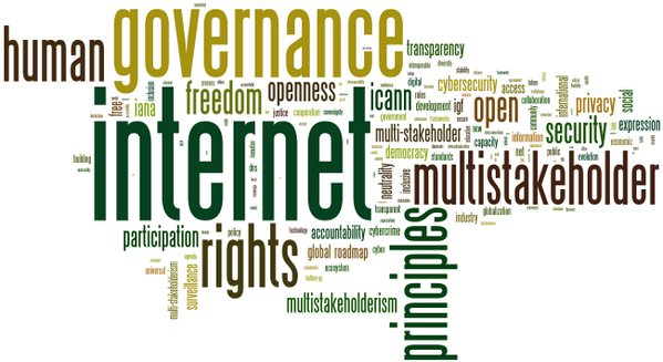 A word cloud formed from the key words used in content contributions for NETmundial 2014