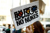 A banner at the Energy Shift Parade in Shibuya, Japan in April 2011.