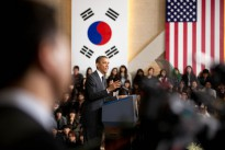 US President Barack Obama delivers remarks at Hankuk University of Foreign Studies in Seoul, Republic of Korea, 26 March 2012. President Obama will visit South Korea again this week, as well as Japan, Malaysia and the Philippines.