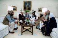 President Reagan meeting with Afghan Freedom Fighters to discuss Soviet atrocities in Afghanistan. 2/2/83