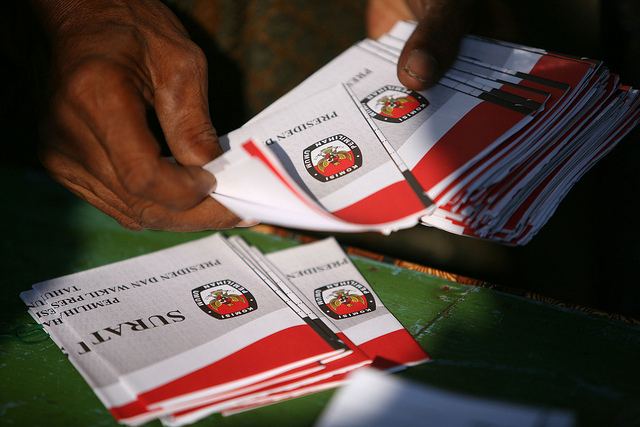 Ballot papers are checked by electoral staff during Indonesia's latest presidential elections.