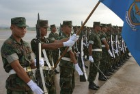 Members of the Royal Thai Naval Air Wing practice before the opening ceremony for exercise Cobra Gold 2010, on Utapao Royal Thai Naval Air Force Base, Thailand, Jan. 29, 2010.
