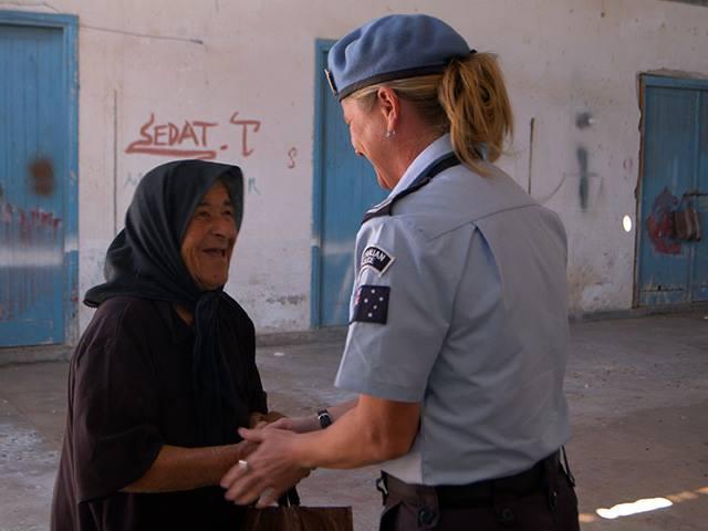 An Australian Federal Police Officer deployed to UN Peacekeeping  Force in Cyprus (UNFICYP).  Cyprus is Australia's longest peacekeeping mission, having commenced in 1964.