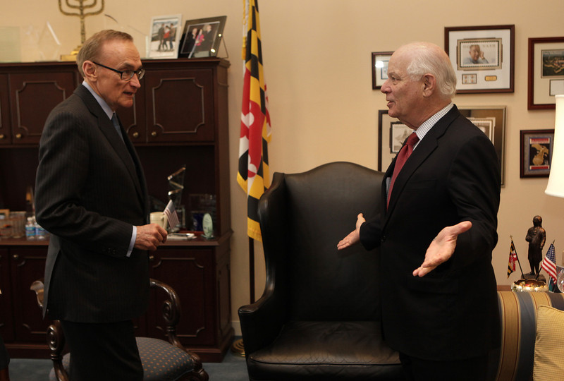 Foreign Minister Bob Carr and  US Senator Ben Cardin meet on Capitol Hill in Washington on 21 March 2013.