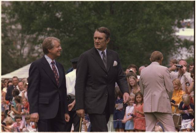 US President Jimmy Carter and Australian Prime Minister Malcolm Fraser at the White House in June 1977.
