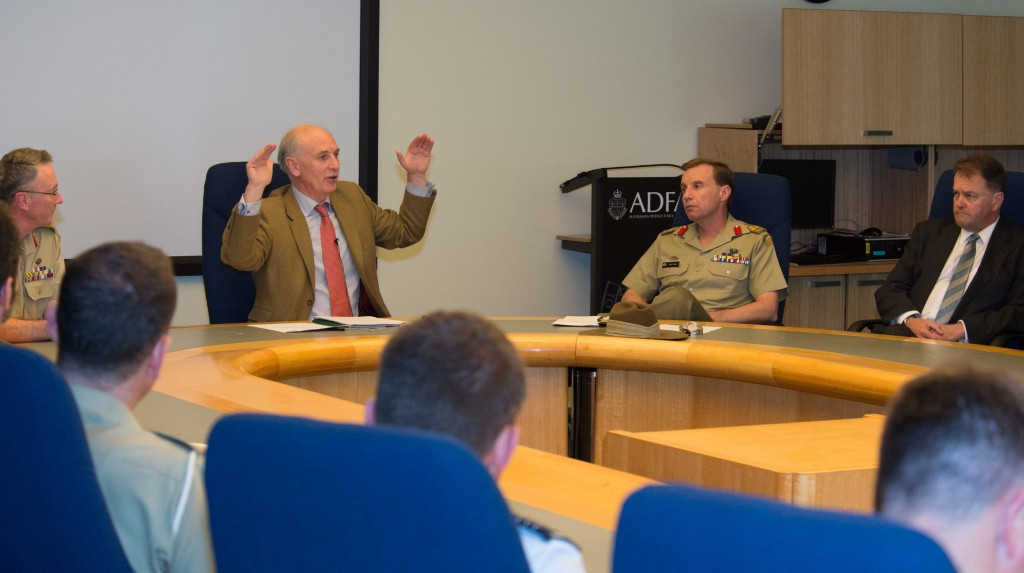 Professor Sir Hew Strachan, presenting on 'Strategy in Theory and Practice: Lessons for Army from the Last 15 years' at the Australian Defence Force Academy.
