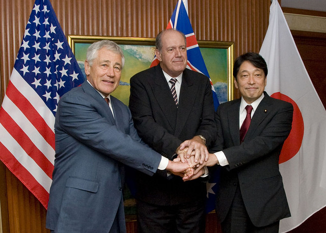 US Secretary of Defense, Chuck Hagel, Australian Minister of Defense, David Johnston, and Japanese Minister of Defense Isunori Onodera held a trilateral discussion regarding mutual security interests during the 2014 Shangri-La Dialogue in Singapore. In the keynote address to the Dialogue, Japanese Prime Minister Shinzo Abe announced Japan's new security role in Asia and reiterated the importance of Japan's relationships with Australia and the US.