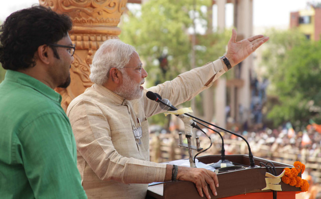 India's Prime Minister-elect, Narendra Modi, addressing a rally in West Bengal on 7 May 2014.