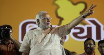 India's PM-elect Narendra Modi addresses a victory rally in Ahmedabad on 21 May 2014.