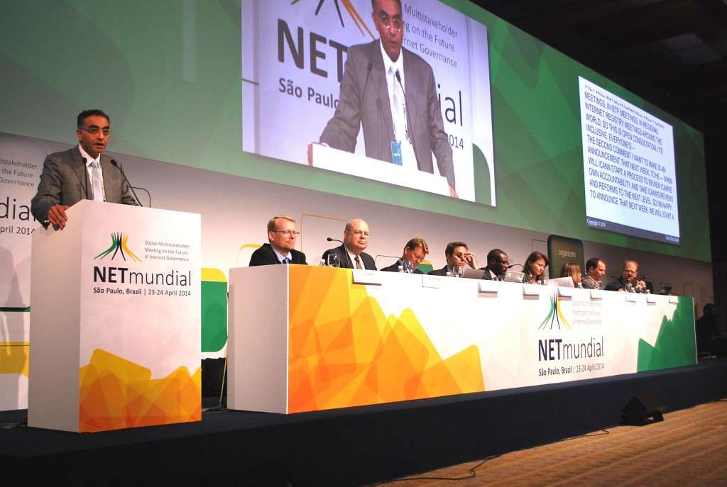 Panellists at NETmundial in Sao Paulo, Brazil, discuss the transition process of the stewardship role of the United States Government over the IANA functions