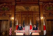 President Barack Obama and Prime Minister Shinzo Abe hold a joint press conference at Akasaka Palace in Tokyo, Japan on 24 April 2014.