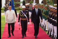 President Barack Obama and President Benigno S. Aquino III inspect the honor guard during an arrival ceremony at the Malacañang Palace in Manila, Philippines, April 28, 2014. Shortly before President Obama's arrival, Philippine Defense Minister Voltaire Gazmin and US ambassador Philip Goldberg signed the Enhanced Defense Cooperation Agreement.