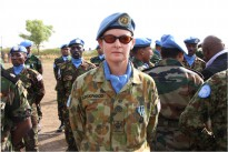 Warrant Officer Class Two (WO2) Natalie Lockwood at the United Nations Mission in South Sudan (UNMISS) medal parade hosted by Special Representative to the Secretary General Ms Hilde F. Johnson in Juba, Sudan. WO2 Natalie Lockwood was the Operations Warrant Officer in the Military Operations Centre during her deployment in 2011.
