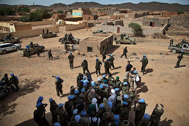 Head of UN Peacekeeping Herve Ladsous is visting Mali. He is seen here speaking to UN Peacekeepers from Chad at the site of the suicide attack that killed two peacekeepers in Tessalit on 23 October.