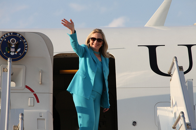 U.S. Secretary of State Hillary Rodham Clinton departs Nay Pyi Taw en route to Rangoon, Burma, on December 1, 2011. [State Department photo/ Public Domain]