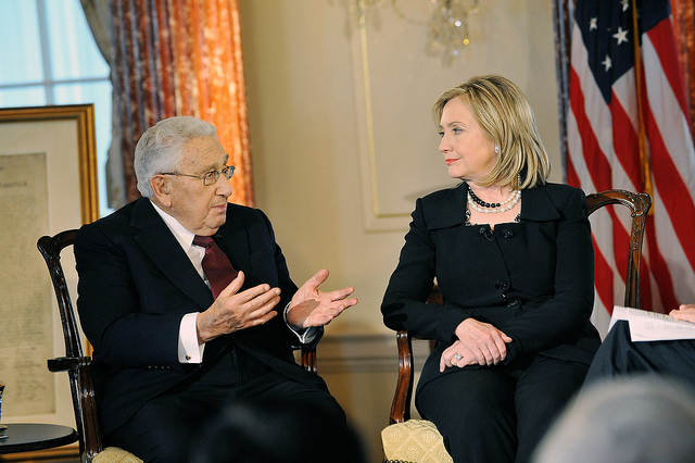 "U.S. Secretary of State Hillary Rodham Clinton and former U.S. Secretary of State Henry Kissinger film, ""Conversations on Diplomacy, Moderated by Charlie Rose,"" at the U.S. Department of State in Washington, D.C., on 20 April 2011."