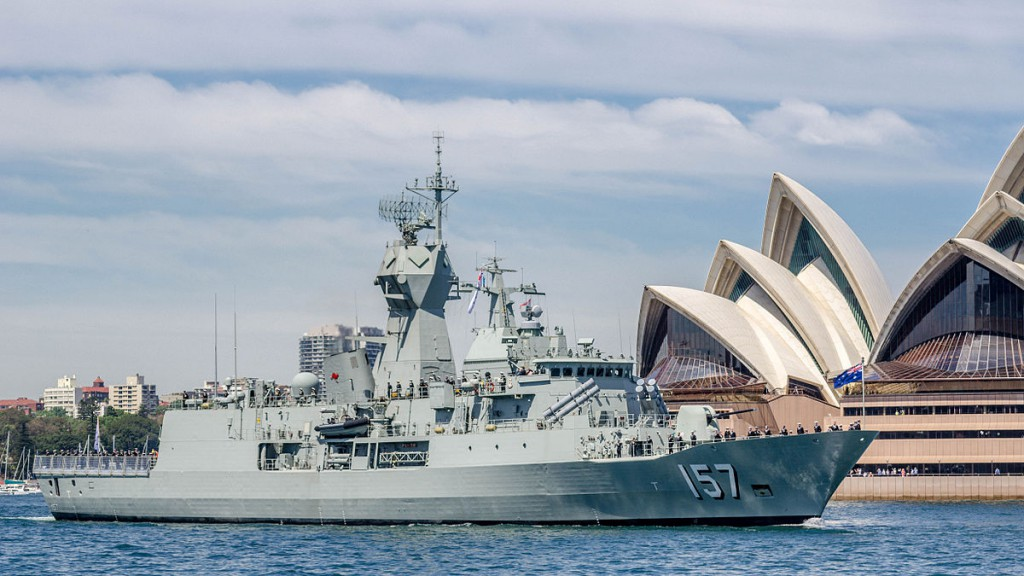 Anzac class frigate HMAS Perth at the International Fleet Review,  October 2013. Minister for Defence, Senator David Johnston, has announced the government would 'bring forward preliminary engineering and design work necessary to keep open the option of building the future frigate in Australia'.