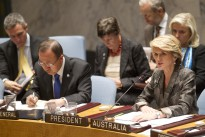 Minister for Foreign Affairs Julie Bishop addresses the UN Security Council High-level meeting on Small Arms during Australia's Presidency of the Council in September 2013.On her right is UN Secretary-General Ban Ki-moon.