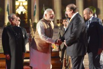 Indian Prime Minister Narendra Modi and Pakistani Prime Minister Nawaz Sharif at Modi's swearing-in ceremony on 26 May 2014.