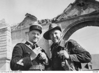 Australia meets France in this picture of Flight-Sergeant Fred Wood of Adelaide, with the Chief Gendarme in a Normandy village in 1945. PM Abbott's visit to France is an opportunity to test the waters on the possibility of a French solution to Australia's future submarine requirement, which could provide a solid basis for defence cooperation into the future.