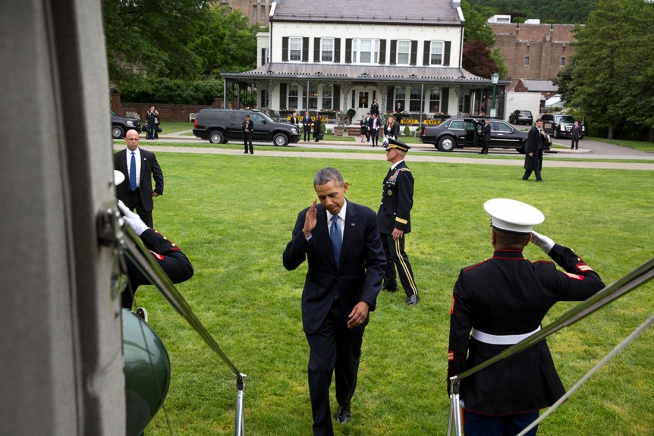 President Barack Obama boards Marine One at the United States Military Academy at West Point landing zone for departure from West Point, N.Y., May 28, 2014.