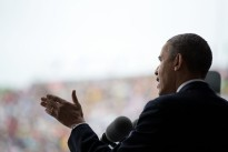 President Barack Obama delivers the commencement address at the United States Military Academy at West Point commencement ceremony at Michie Stadium in West Point, N.Y., May 28, 2014.