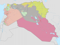 Map showing Syria and Iraq under ISIS control (grey areas).