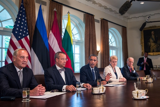 President Barack Obama, with Vice President Joe Biden, delivers a statement to the press before meeting with Baltic Leaders in the Cabinet Room of the White House, Aug. 30, 2013. The meeting included, from left, Latvia President Andris Běrzinš, Estonia President Toomas Hendrik Ilves, and Lithuania President Dalia Grybauskaite. (Official White House Photo by Amanda Lucidon)