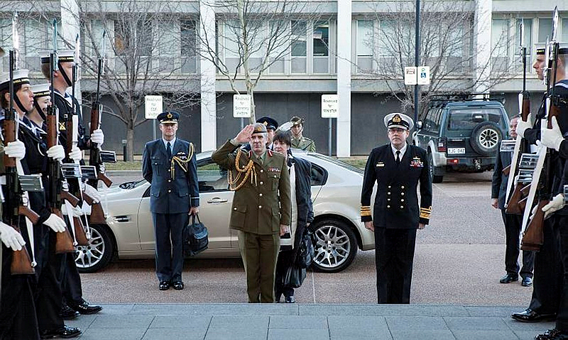 Secretary and Chief Executive of the Ministry of Defence of New Zealand, Helene Quilter, and Lieutenant General Tim Keating Chief of Defence Force New Zealand Visit to ADF Headquarters Canberra 23 July 2014.
