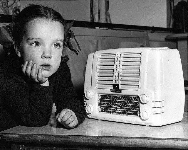Ariane Dawson of Sydney listening to one of the ABC's radio programmes.